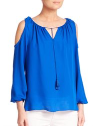 Elie Tahari - Blue Cathy Silk Cold-shoulder Blouse - Lyst