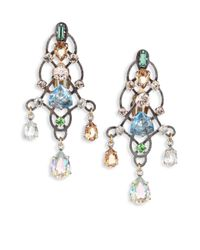 Lanvin | Metallic Crystal Chandelier Earrings | Lyst