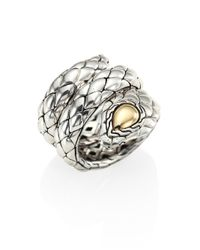 John Hardy | Metallic Cobra Sterling Silver & 18k Yellow Gold Ring | Lyst