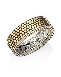 John Hardy | Metallic Dot 18k Yellow Gold & Sterling Silver Cuff Bracelet | Lyst