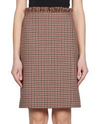 Nina Ricci | Multicolor Checked Wool Pencil Skirt | Lyst