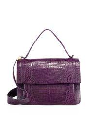 Nancy Gonzalez - Purple Crocodile Flap Top-handle Messenger Bag - Lyst