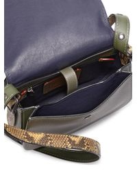COACH - Green Colorblock Leather & Python Saddle Bag - Lyst
