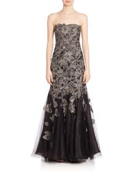 Alberto Makali | Multicolor Strapless Floral Applique Gown | Lyst