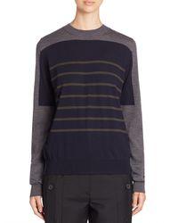 Jil Sander - Blue Colorblock Striped Wool Sweater - Lyst