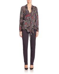 Etro - Black - Intarsia Knit Belted Top - Women - Silk - 46 - Lyst