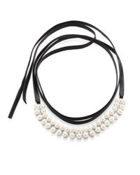 Fallon | Metallic Monarch Faux Pearl & Leather Wrap Choker | Lyst