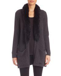 MILLY | Black Fox Fur-trim Woool Cardigan | Lyst