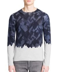 Emporio Armani | Blue Ombre-effect Virgin Wool Sweater for Men | Lyst