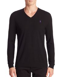 Polo Ralph Lauren | Black Pima Cotton V-Neck Sweater for Men | Lyst
