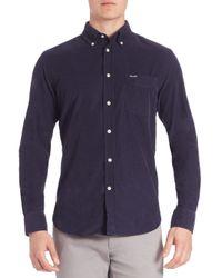 Façonnable   Blue Club Fit Corduroy Button-down Shirt for Men   Lyst