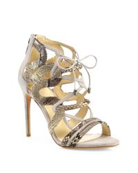 Alexandre Birman | Natural Strappy Python & Suede Cage Sandals | Lyst