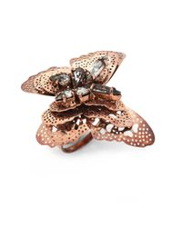 Erickson Beamon | Metallic Splendor In The Rose Swarovski Crystal Ring | Lyst