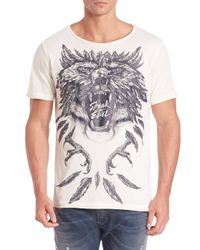 DIESEL - Gray Joe New Wolf Tee for Men - Lyst