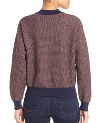 Tanya Taylor Multicolor Metallic Knit Palm Sweater