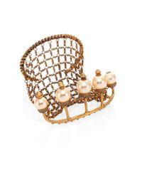 Gucci | Metallic Faux Pearl Multi-finger Ring & Bracelet | Lyst