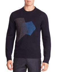 Z Zegna   Blue Ribbed Crewneck Sweater for Men   Lyst