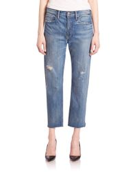 VINCE   Black Distressed Cropped Jeans   Lyst