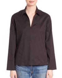 VINCE | Black Solid Long Sleeve Top | Lyst