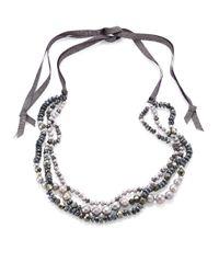 Chan Luu | Gray 6mm Grey Potato Pearl, 9-10mm Cultured Freshwater Pearl, Pyrite & Mystic Lab Tie Necklace | Lyst