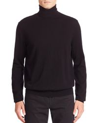 VINCE   Black Featherweight Cashmere & Wool Turtleneck Sweater for Men   Lyst