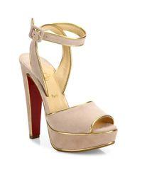 Christian Louboutin | Pink Louloudance 140 Metallic-trim Suede Platform Sandals | Lyst