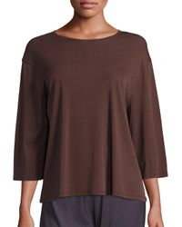 VINCE | Brown Wide-sleeve Cotton Top | Lyst