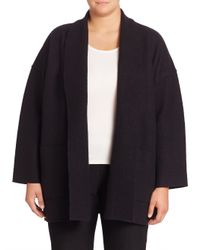 Eileen Fisher - Black Open-front Wool Jacket - Lyst