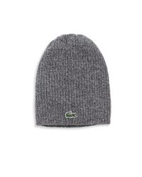 Lacoste | Gray Ribbed Wool Knit Beanie for Men | Lyst