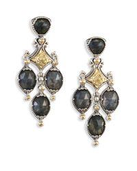 Konstantino | Metallic Cassiopeia Doublet Spectrolite, 18k Yellow Gold, & Sterling Silver Chandelier Earrings | Lyst