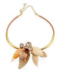 Marni   Metallic Horn & Crystal Necklace   Lyst