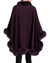 Sofia Cashmere - Purple Cashmere & Fox Fur Cape - Lyst