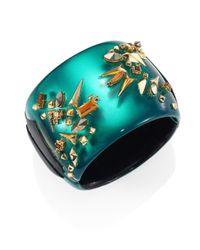 Alexis Bittar - Green Golden Studded Lucite Hinge Cuff Bracelet - Lyst