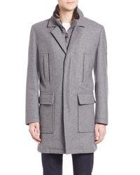 Cole Haan | Gray Faux-fur Trimmed Wool-blend Coat for Men | Lyst