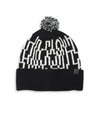Bickley + Mitchell | Black Lambswool Blend Knit Pom Beanie | Lyst