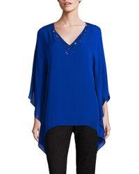 St. John | Blue Sequin-embellished Silk Caftan Top | Lyst