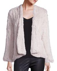 H Brand | Blue Emily Knitted Rabbit Fur Coat | Lyst