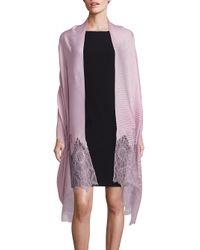 Valentino | Pink Wool, Silk & Cashmere Blend Lace Shawl | Lyst