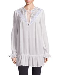 Free People | White One Night Victorian Lace Inset Top | Lyst