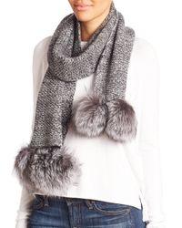 Portolano | Gray Cashmere & Fox Fur Pom-pom Scarf | Lyst
