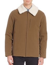 A.P.C. | Blue Militaire Sherpa Collar Jacket for Men | Lyst
