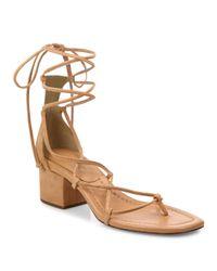 Michael Kors | Brown Ayers Suede Lace-up Block Heel Sandals | Lyst