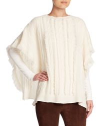 Ralph Lauren Collection | Natural Wide Cable-knit Cashmere Poncho | Lyst