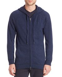 VINCE | Blue Cashmere Zip Front Hoodie for Men | Lyst