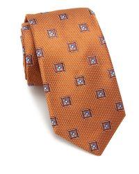 Ike Behar | Orange Floral Pattern Silk Tie for Men | Lyst