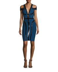 Hervé Léger   Blue Sequin Cold-shoulder Bandage Dress   Lyst