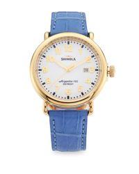 Shinola | Blue Runwell Goldtone Stainless Steel & Alligator Strap Watch | Lyst