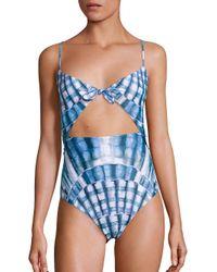 Mara Hoffman   Blue One-piece Tie Front Swimsuit   Lyst