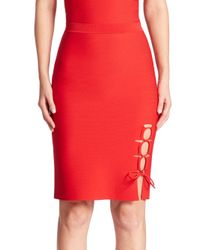 Alexander Wang | Red Lace-up Slit Pencil Skirt | Lyst