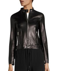 RED Valentino | Black Lace-up Leather Moto Jacket | Lyst